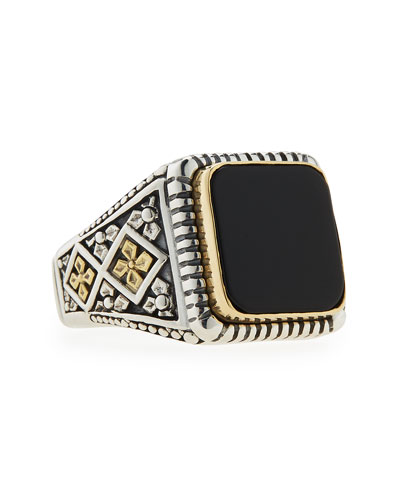 Men's Onyx Square Ring, Size 10