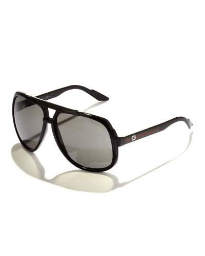 Large Plastic Navigator Sunglasses, Black