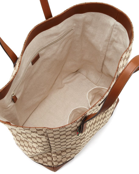 Men's GG Canvas North-South Tote Bag, Beige