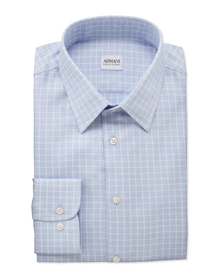 Box-Check Dress Shirt, White/Light Blue