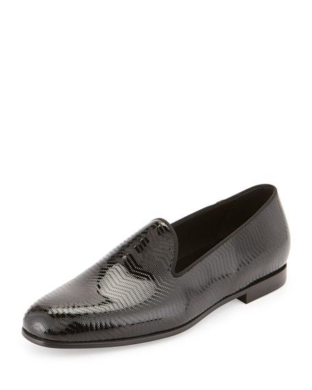 Giorgio Armani Textured Patent Leather Loafer, Black