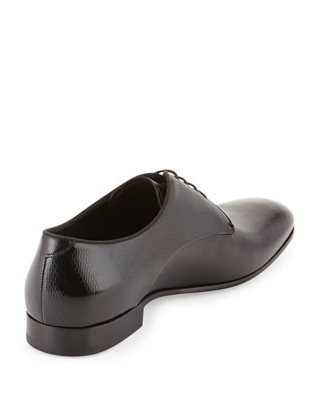 Textured Patent Leather Oxford, Black