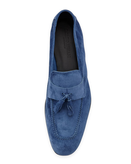 Suede Tassel Loafer, Royal Blue