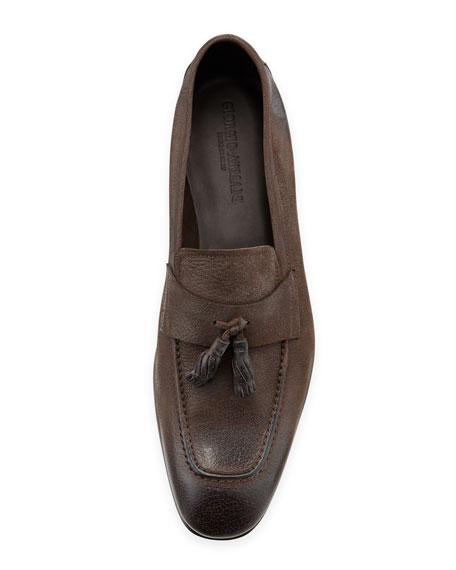 Brushed Leather Tassel Loafer, Brown