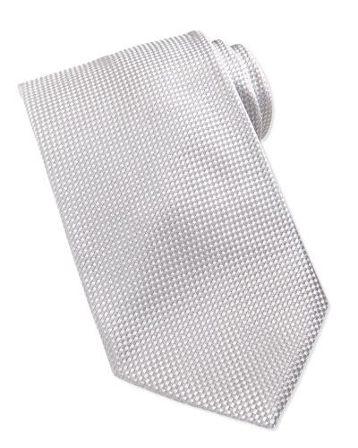 Formal Textured Silk Tie, Silver