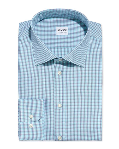 Armani Collezioni Modern Fit Check Dress Shirt Aqua Blue