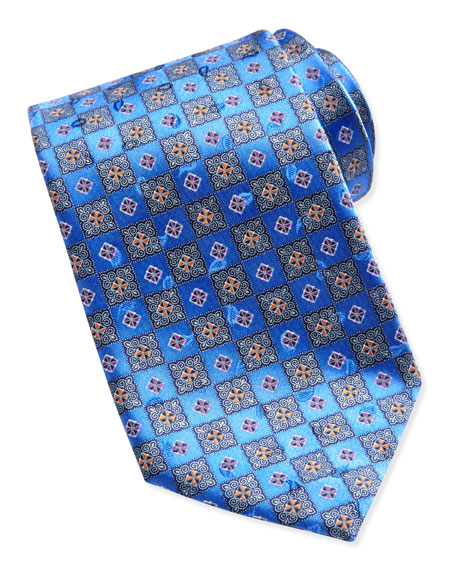 Ermenegildo Zegna Checkerboard Medallion Tie, Blue