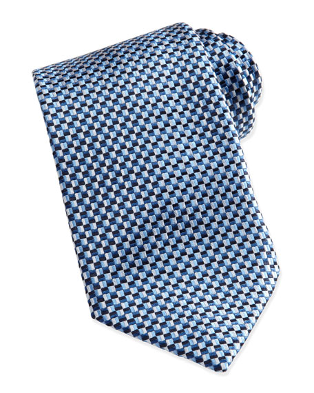 Basket-Weave Silk Tie, Light Blue