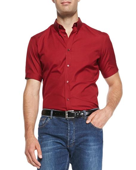 Short-Sleeve Poplin Shirt, Red