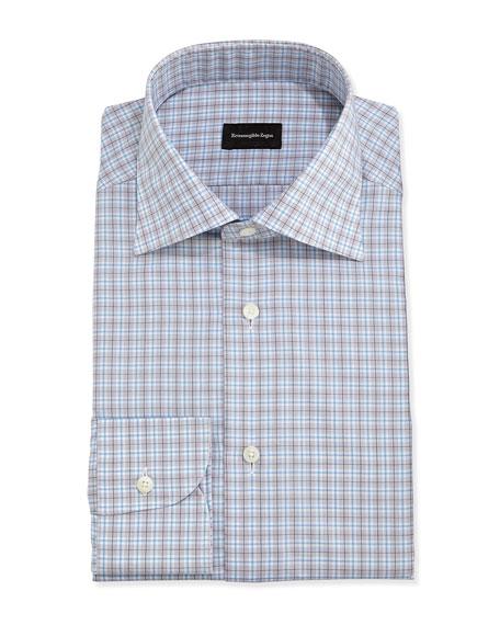 Ermenegildo Zegna Woven Plaid Dress Shirt, Light Blue/Gray