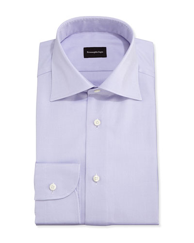 Solid Textured Twill Dress Shirt, Lavender