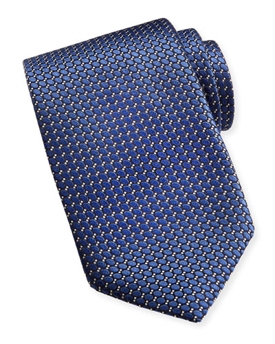Textured Ovals Silk Tie, Navy