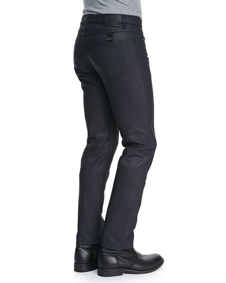 Earlham Waxed Five-Pocket Jeans, Navy