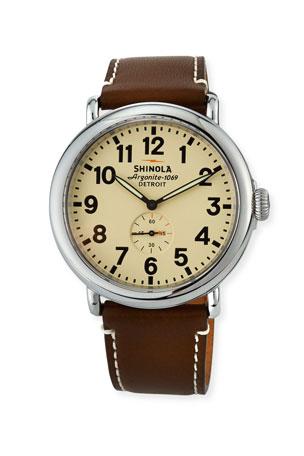 Shinola Men's 47mm Runwell Men's Watch, Cream/Dark Brown