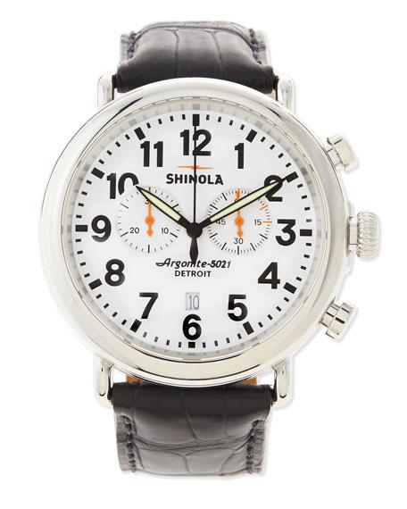 47mm Runwell Chronograph Men's Watch, Black/White