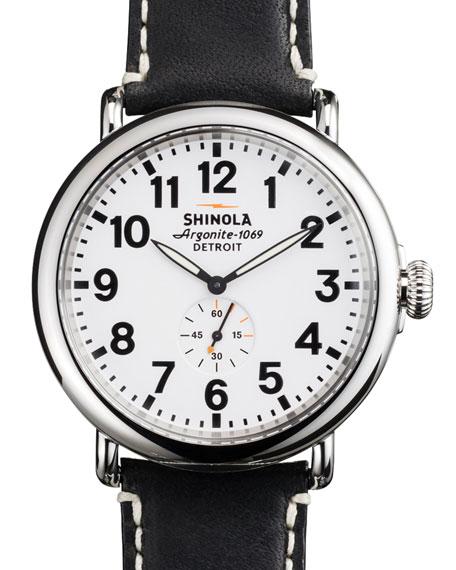 47mm Runwell Men's Watch, White/Black
