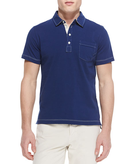 Billy Reid Contrast-Topstitching Polo Shirt