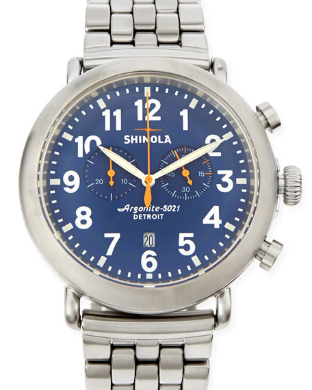 47mm Runwell Men's Chronograph Watch, Stainless Steel/Blue Dial