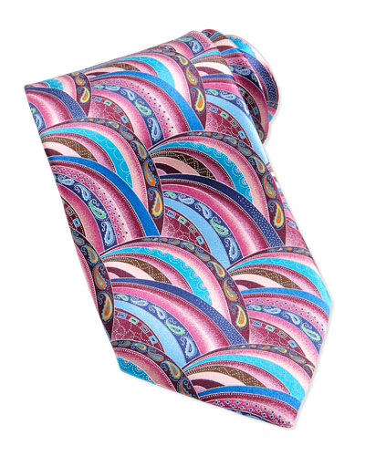 Quindici Patchwork Silk Tie, Pink