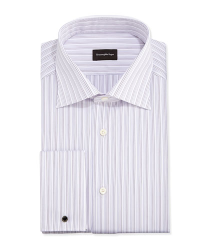 French-Cuff Fine-Line Stripe Dress Shirt, Purple