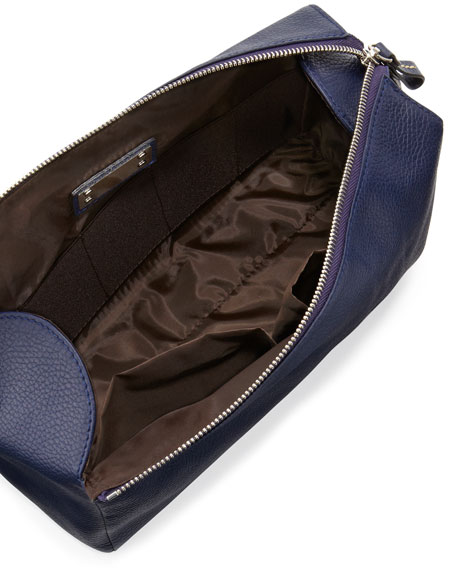 Pebbled Leather Toiletry Bag, Navy