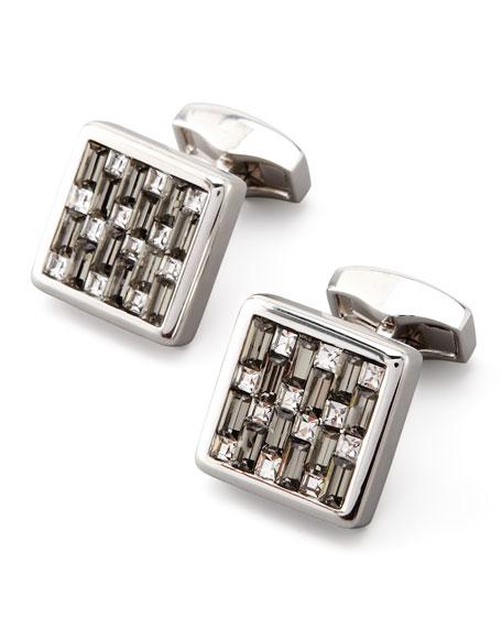 Tateossian Interlock Crystal Cuff Links, Black/Gray