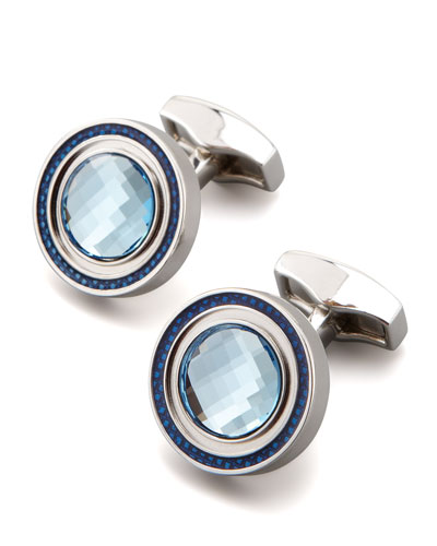 Round Crystal Cuff Links, Aqua