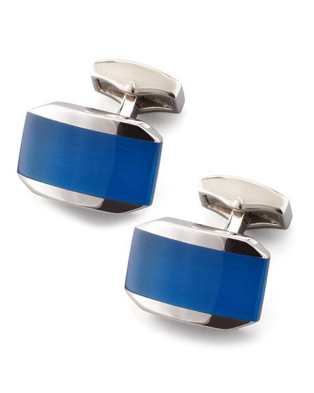 Hexagonal Cuff Links, Blue