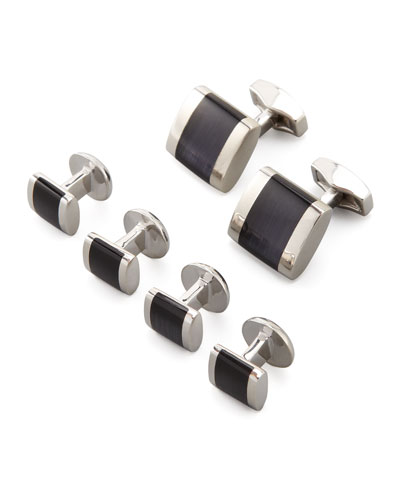 Freeway Fiber Optic Cuff Links & Stud Set, Black