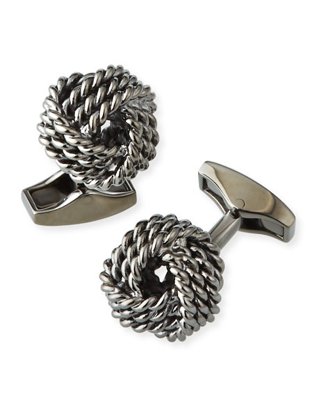 Knot Round Cuff Links, Rhodium