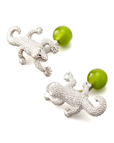 Animal Stiff Bar Cuff Links, Gecko