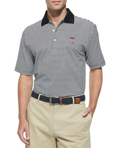 Peter Millar Texas Tech Gameday College Shirt Polo, Black/White