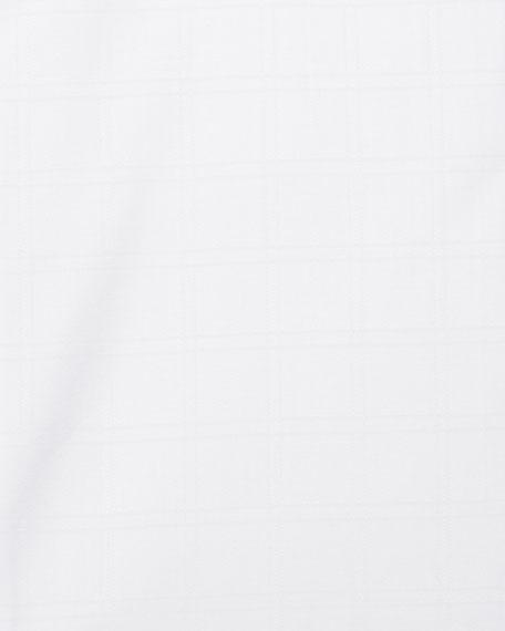 White-On-White Box Check Dress Shirt, White