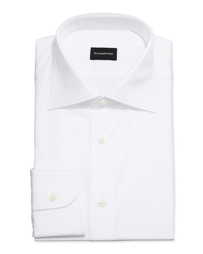 White-On-White Box Check Dress Shirt, White