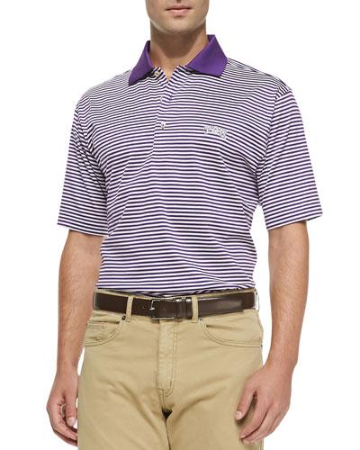 Peter Millar Striped TCU College Polo Shirt, Purple/White