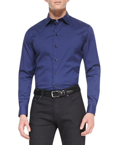 Stretch-Cotton Dress Shirt, Blue