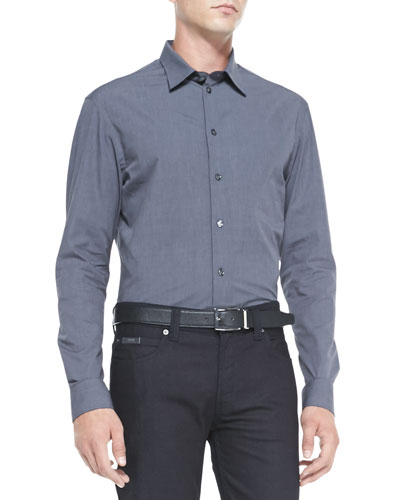 Solid Woven Button-Down Shirt, Gray