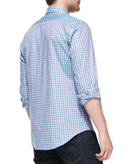 Check Woven Shirt, Purple/Light Blue/Green