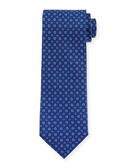 Salvatore Ferragamo Allover Gancini-Print Woven Tie, Navy