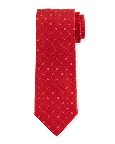 Gancini Jacquard Tie, Red
