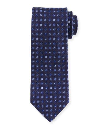 Gancini Jacquard Tie, Dark Blue