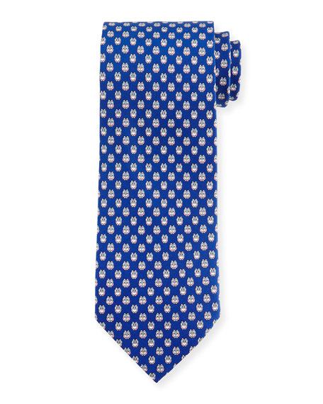 Salvatore Ferragamo Owl-Print Woven Tie, Royal