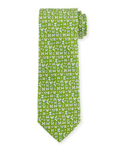 Multi-Butterfly Print Woven Tie, Green