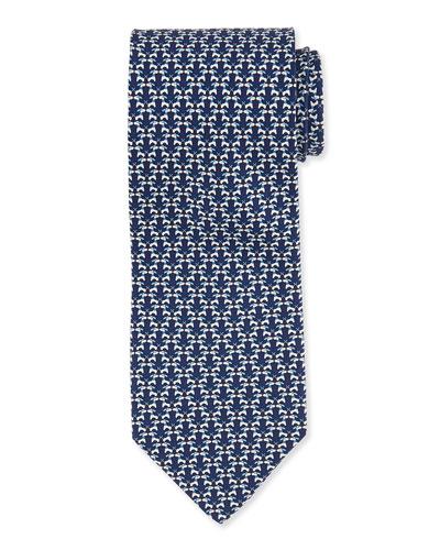 Kissing Dog-Print Woven Tie, Navy
