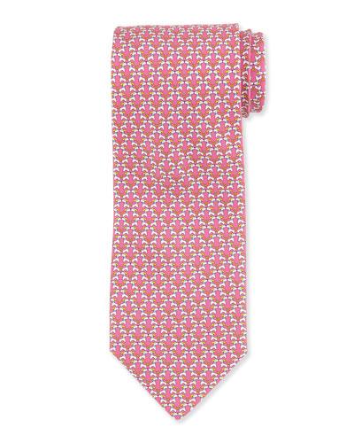 Kissing Dog-Print Tie, Pink