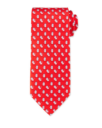 Lion-Print Woven Tie, Red