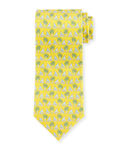 SALVATORE FERRAGAMO SAILBOAT & PALM TREE-PRINT TIE, YELLOW