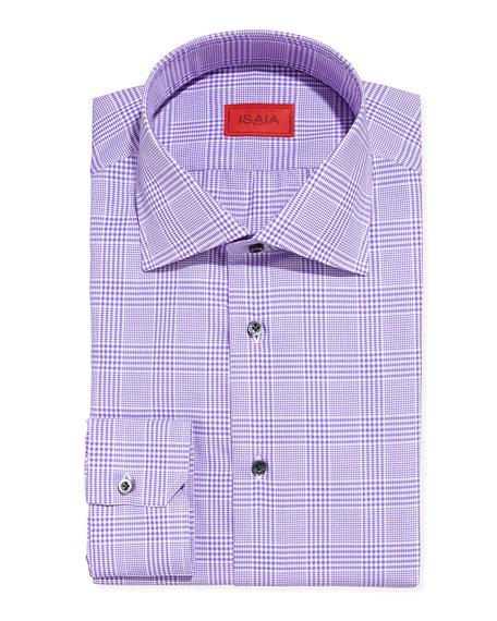 Isaia Glen Plaid Dress Shirt Purple