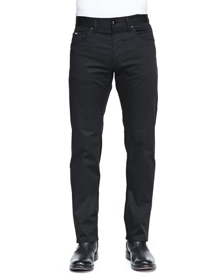 Regular Fit Techno Pants, Black