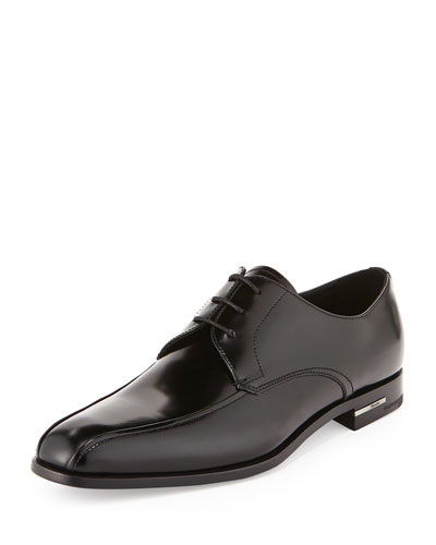 Leather Bike-Toe Dress Shoe, Black
